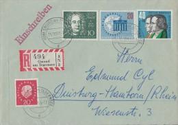 Bund R-Brief Mif Minr.304,315,325,Berlin 189 Gmund 15.10.59 - BRD