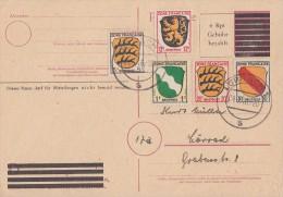 Fr. Zone Ganzsache Minr.PA 814 Zfr. Minr-1,3,6,8,10 Lörrach 4.3.46 - Französische Zone