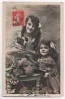 CPA Fantaisie - Enfants - Fillette - Portrait - Fleur - Chien - Portraits