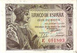 BILLETE DE ESPAÑA DE 1 PTA  DEL AÑO 1943 SERIE E CALIDAD EBC+++ (BANKNOTE) - [ 3] 1936-1975 : Régence De Franco