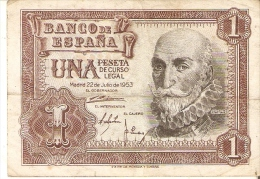 BILLETE DE 1 PTA DEL 22/07/1953 SERIE X CALIDAD BC  (BANKNOTE) - [ 3] 1936-1975 : Régence De Franco