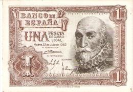 BILLETE DE 1 PTA DEL 22/07/1953 SERIE W SIN CIRCULAR-UNCIRCULATED  (BANKNOTE) - [ 3] 1936-1975 : Régence De Franco