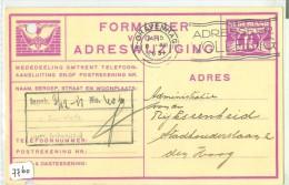 FORMULIER VOOR ADRESWIJZIGING Uit 1931 Van LOKAAL DEN HAAG * VOORDRUK NVPH Nr. 173 (7760) - 1891-1948 (Wilhelmine)