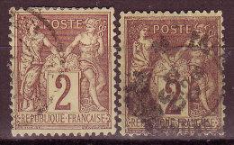 FRANCE - 1877 - YT N° 85 + 85a  -oblitérés  - 2 Nuances Différentes - 1876-1898 Sage (Type II)