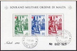Christmas SMOM 1981 Gemälde Malteser Orden Natal Block 15 O 4€ Christus Malta M/s Painting Bloc Art Sheet Ordre De Malte - Malte (Ordre De)