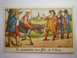 FABLE  De  LA  FONTAINE  :  Le Meunier , Son Fils Et L'âne   (Carte Couleur  Calvet-Rognat) - Vieux Papiers