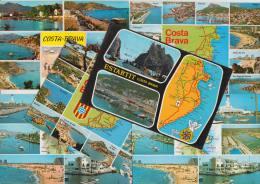 6 POSTCARDS - MAPS / CARTES ´Costa Brava´ Multiviews  - Espana/Spain - Postkaarten