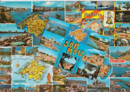 9 POSTCARDS - MAPS / CARTES  ´MALLORCA´  Multiviews  - Espana/Spain - Postkaarten