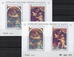 Natal SMOM Christmas 1983 Gemälde Malteser Orden Block 17 **/ O 10€ Maria Bf M/s Painting Bloc Art Sheet Ordre De Malte - Malte (Ordre De)