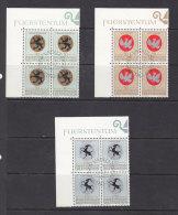 1969  N° 453 à 455  BLOCS DE 4  OBLITERES                    CATALOGUE ZUMSTEIN - Liechtenstein