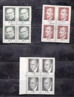 1968  N° 438 à 440  BLOCS DE 4  OBLITERES                    CATALOGUE ZUMSTEIN - Liechtenstein