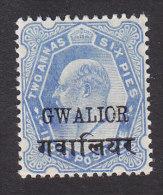 Gwalior, Scott #39, Mint Hinged Edward VII Overprinted, Issued 1905 - Gwalior