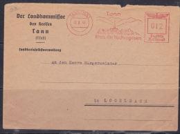 LETTRE A DESTINATION DE LOGELBACH OBL MÉCANIQUE DU 22.9.1943  FLAMME DE TANN - Francia