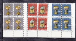 1973  N° 528 à 530   BLOCS  DE 4  OBLITERES                    CATALOGUE ZUMSTEIN - Liechtenstein