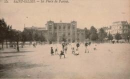 SAINT-GILLES / BRUXELLES  Place De Parme , Très Animée , Dos Vierge - Squares