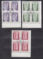 1975 N° 576 à 578   BLOCS  DE 4  OBLITERES                    CATALOGUE ZUMSTEIN - Liechtenstein