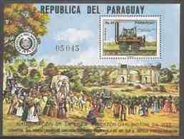 "Paraguay 1976 B271 Mi 2782 Aero ** Locomotive ""Locomotion"" Great Britain - Opening 1st Railway Line / Eisenbahnlinie - Paraguay"