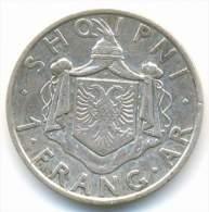 ALBANIA , 1  FRANG AR 1935 R , SILVER COIN - Albania