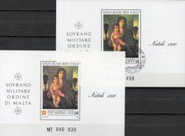 Natale SMOM Christmas 1990 Gemälde Malteser Orden Block 30 **/ O 14€ Maria Bf M/s Painting Bloc Art Sheet Ordre De Malte - Malte (Ordre De)