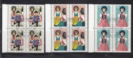 1977 N° 622 à 624     BLOCS  DE 4  OBLITERES                    CATALOGUE ZUMSTEIN - Liechtenstein