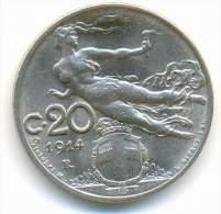 ITALY , 20 CENTESIMI 1914  R , UNC - 1861-1946 : Regno