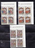 1979  N° 669 à 671     BLOCS  DE 4  OBLITERES                    CATALOGUE ZUMSTEIN - Liechtenstein