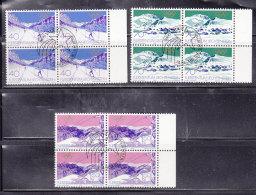 1979  N° 673 à 675     BLOCS  DE 4  OBLITERES                    CATALOGUE ZUMSTEIN - Liechtenstein