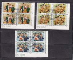 1980  N° 692 à 694     BLOCS  DE 4  OBLITERES                    CATALOGUE ZUMSTEIN - Liechtenstein