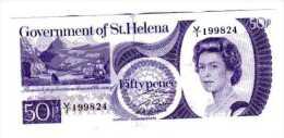 BILLET SAINTE HELENE - P.50 (SIGNE 2) - 1979 - 50 PENCE - ELISABETH II - VUE DU PORT AVEC VOILIERS - Sainte-Hélène