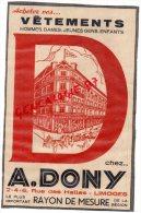 87 - LIMOGES - PUBLICITES CARTONNEE HAVAS-EXPRINTER 22 RUE JEAN JAURES- VETEMENTS A.DONY 2 RUE DES HALLES - Publicités