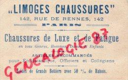 87 - LIMOGES - CARTE PUBLICITAIRE LIMOGES CHAUSSURES 142 RUE DE RENNES PARIS - LETTRE Z - Publicités