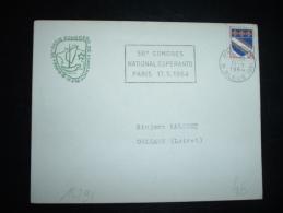 LETTRE TP BLASON TROYES 0,10F OBL.MEC. 11-4-1964 PARIS 83 (75) + ESPERANTO + LOGO CONGRES ESPERANTO - Esperanto