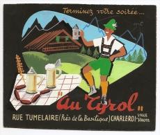 Projet Publicité Original Années 70 Presse Graphisme Brasserie Au Tyrol Charleroi Bière Chalet Suisse Belgique A16b-12 - Placas De Cartón