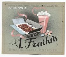Projet Publicité Original Années 70 Presse Graphisme Confiserie A. Fraikin MOLENBEEK BRUXELLES Belgique A16b-19 - Placas De Cartón