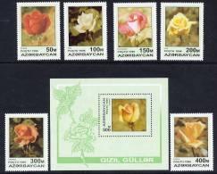 AZERBAIJAN 1996 Roses (6v + Block) MNH / ** - Azerbaïjan