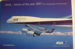 AIRLINE ISSUE / CARTE COMPAGNIE   ANA     B 747 400 - 1946-....: Ere Moderne