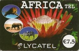 CARTE-PREPAYEE-7.5€-Blanc-LYCAT EL-AFRICA TEL-ANIMAUX-FLEUR-25/12/2 010- T BE- - Autres Prépayées