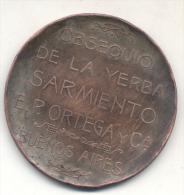 DOMINGO FAUSTINO SARMIENTO CENTENARIO DE SU NACIMIENTO MEDALLA PUBLICIDAD - YERBA SARMIENTO P. ORTEGA Y CIA BUENOS AIRES - Tokens & Medals