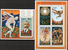 Coubertin Sommerolympiade München 1972 Cook Islands Block 15+16 ** 7€ Sprint Bf M/s Sport Bloc Olympic Sheet Of Oceanien - Cook