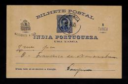 India NOVA GOA 08-08-1900´s Entier Postale Postal Stationery + Additional 3 Réis On 1 Tanga Gc1501 - Portuguese India