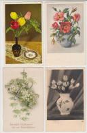 8 OLD POSTCARDS - BLOEMEN/FLEURS/FLOWERS/BL UMEN: NEDERLANDSE FRANKERING - (3 Scans) - Postkaarten