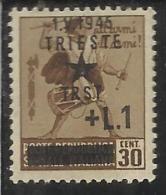 OCCUPAZIONE TRIESTE 1945 LIRE 1 SU CENT. 30  MNH - Yugoslavian Occ.: Fiume