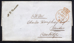 A2148) UK Cover From London 10/19/1846 To Cambridge With Printed Content - 1840-1901 (Viktoria)