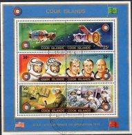 Apollo Sojus Raumfahrt 1975 Cook Islands Block 46 O 6€ Astronaut Leonow Blocchi Space Bloc Cosmos Se-tenant Of Oceanien - Cook