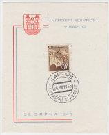 1945 Czechoslovakia Commemorative Letter, Paper, Cover, Stamp, Sheet, Stationery. I. Narodni Slavnost V Kaplici (B05009) - Tchécoslovaquie