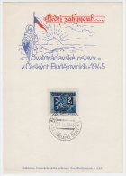 1945 Czechoslovakia Commemorative Letter, Paper, Cover, Stamp, Sheet, Stationery.  (B05005) - Tchécoslovaquie