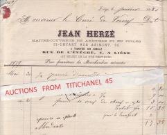 Facture De 1880 De LIEGE - JEAN HERZE 4 Rue De L´Evêché - Maître Couvreur En Ardoises Et En Tuiles - Belgium