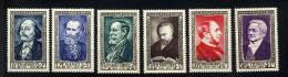 FRANCE 1952 ** Y&T 930-935 Flaubert, Manet, Saint-Saëns, Poincaré, Haussmann, Thiers - France