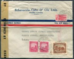 1944 Colombia Medellin Airmail Censur Cover - George School Alumni Pennsylvania USA - Colombia