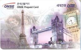 TARJETA DE KOREA CON UN BILLETE DE FRANCIA  (BANKNOTE) TORRE EYFFEL-BIG BEN DE LONDON - Sellos & Monedas